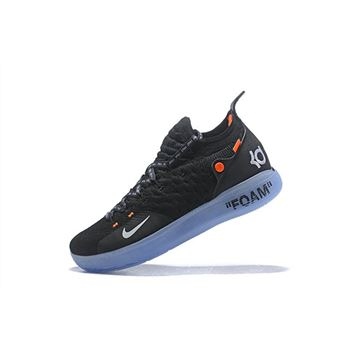 cheap for discount ec5d4 2a3d2 2018 Off-White x Nike KD 11 Black White-Orange Men s Basketball Shoes